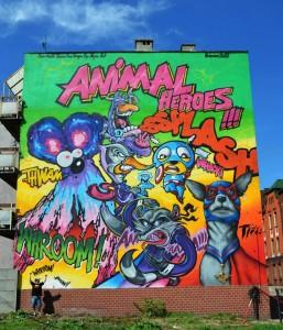 animal heroes splash mural graffili, kultura i sztuka