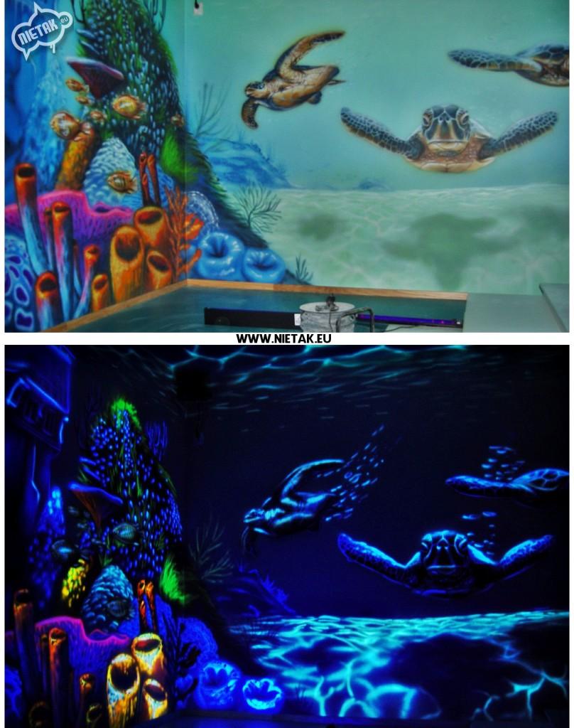 nietak,bawialnia, podwodny swiat, malowanie uv, malowanie artystyczne, malowanie na zamowienie