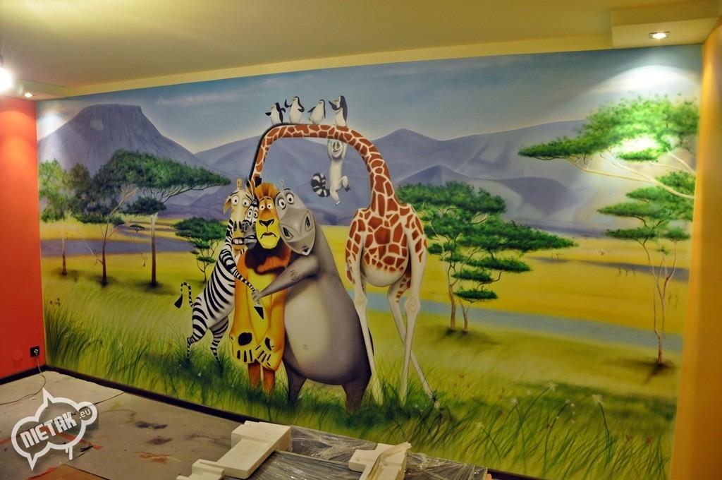 malowanie mieszkań , malowanie artystyczne , nietak , malowanie pokoi , magadaskar graffiti , aerograf w pokoju , warsztaty graffiti , aerograf, airbrush magadascar , zwierzaki , chorzów