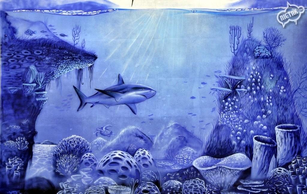 podwodny świat graffiti, ocean graffiti, nietak, malowanie artystyczne, rekin graffiti