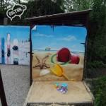 plaża, graffiti