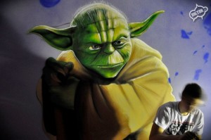 Yoda graffiti, dekorowanie wnętrz