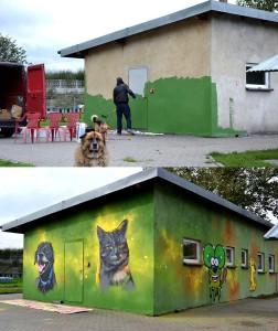 kot i pies, graffiti