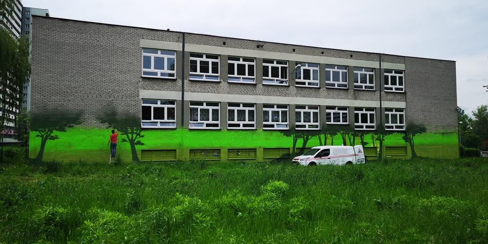 Mural na szkole Podstawowej w Katowicach - Nietak.eu
