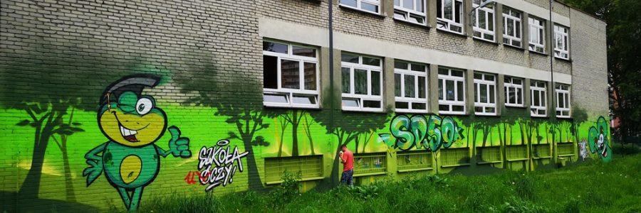 Mural na Szkole Podstawowej w Katowicach
